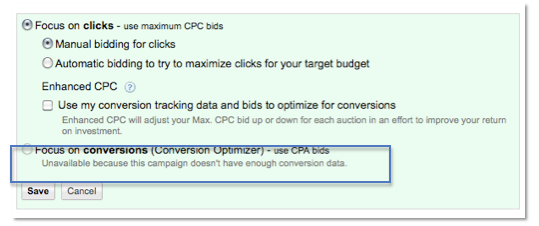 AdWords CPA Bidding Unavailable