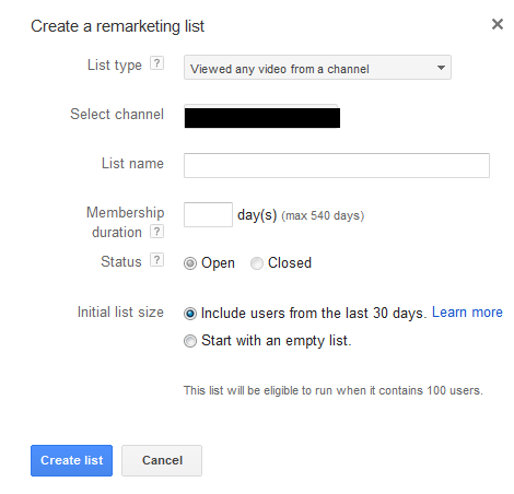 YouTube remarketing list creation options