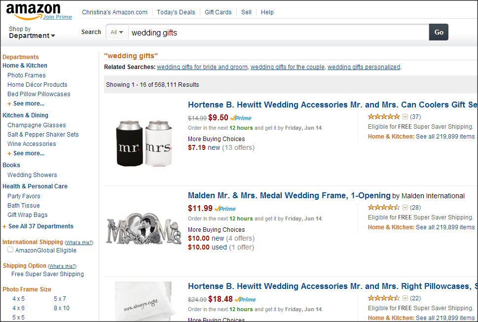 Amazon Shopping results for wedding gifts