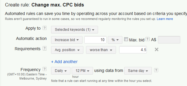 An AdWords automated rule for bidding up a keyword