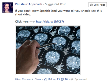 Facebook ad for Pimsieur Spanish