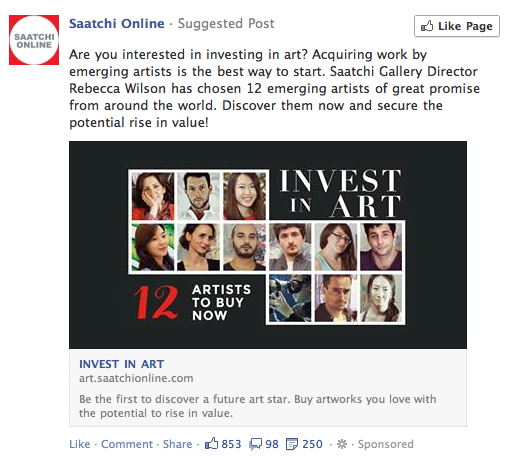 A facebook promoted post by Saatchi Online