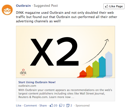 A Facebook post by Outbrain