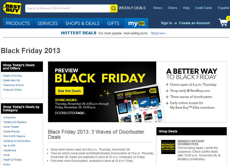 BestBuy Black Friday Landing Page