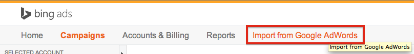 "The ""Import from Google AdWords"" button in the Bing interface."