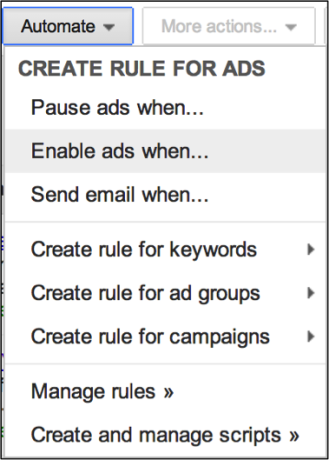 Image of menu for creating ad rules