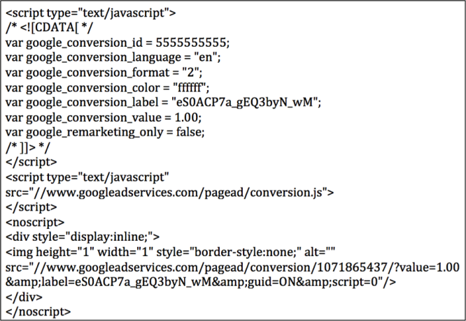 Image of conversion code