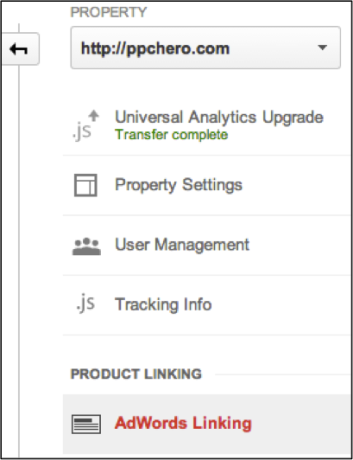 Image of Google Analytics linking
