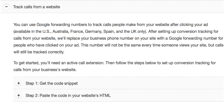 Website Call Conversions Steps