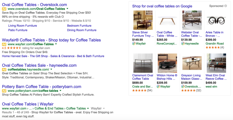 Image of paid search ads