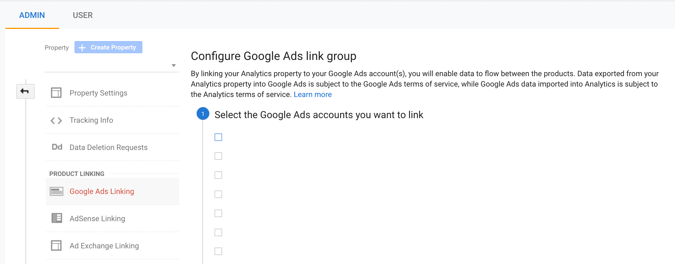 Google Ads Account Link in Google Analytics Setup