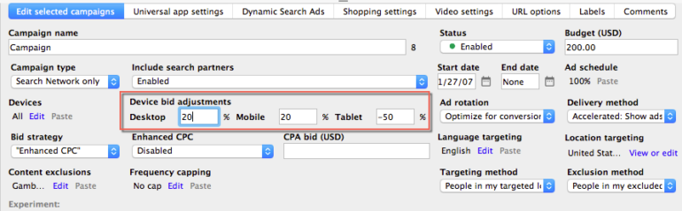 adwords editor device bid adjustments
