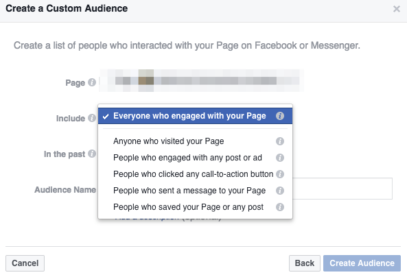 Creating a custom audience for Facebook Pages