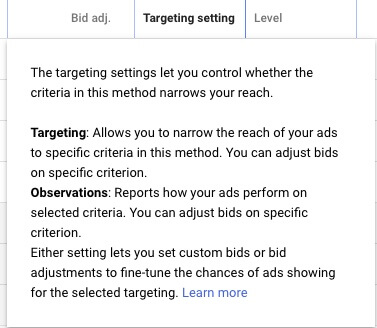 Audience targeting settings