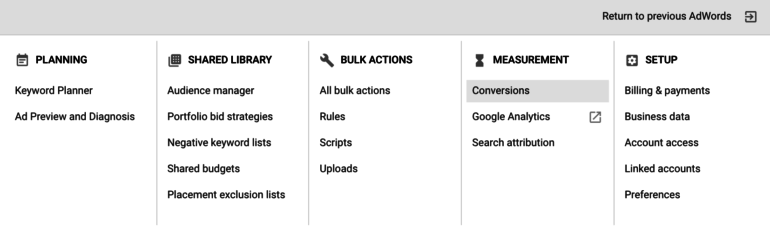 New AdWords interface - conversions