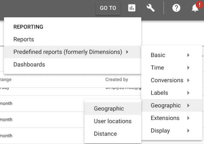 Accessing the geographic report via the AdWords menu