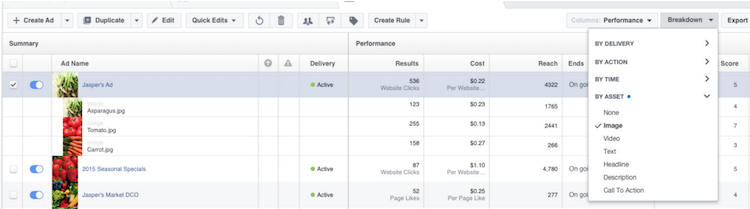 screenshot of breakdown section in ads manager