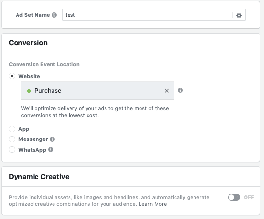 Facebook interface showing dynamic creative set up