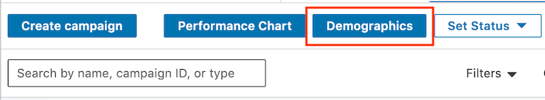 picture of demographics button in linkedin campaign manager